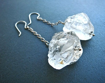 Crystal Rock Earrings- rock crystal and sterling silver