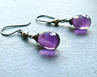Iron Queen Earrings- amethyst, pyrite, oxidized sterling silver