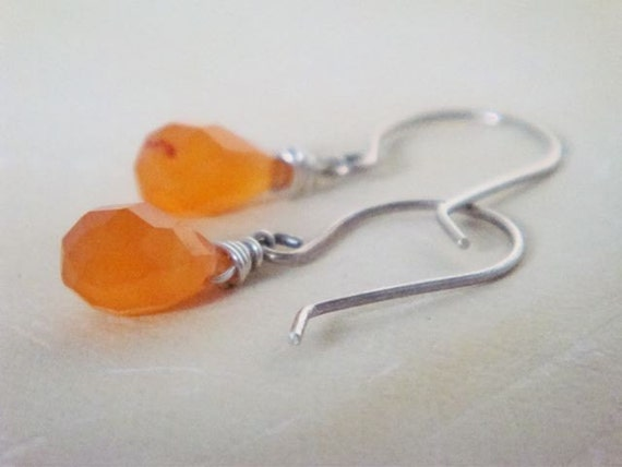 Orange Sparkle Earrings- chalcedony and sterling silver