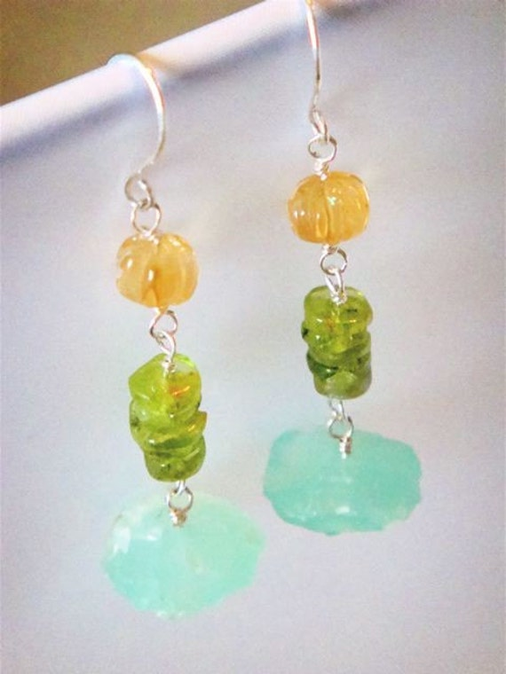 Spring Flowers Earrings- peridot, citrine, blue agate and sterling silver