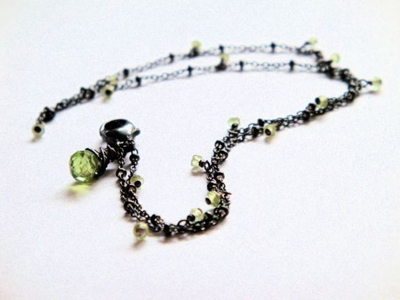 Tiny Peridot Double Bracelet