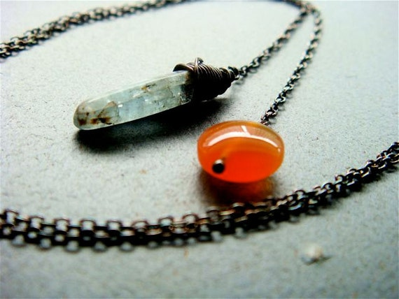 Double Drop Lariat Necklace No. 1- kyanite and carnelian