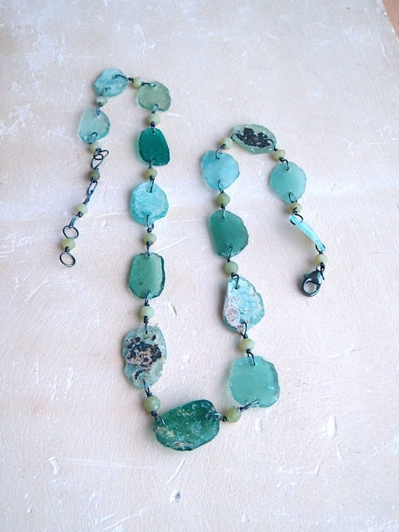 Diana Necklace- Ancient Roman glass, jade, and oxidized sterling silver