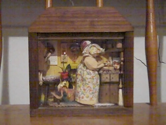 Kitchen Diorama Made Of Cereal Box: Items Similar To Vintage Country Kitchen Diorama Shadow