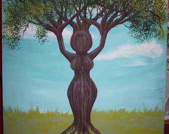 Tree Goddess- Acrylic painting on 16x20 inch stretched canvas wicca pagan