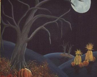 HARVEST MOON- Acrylic Painting AUTUMN Fall Halloween Samhain
