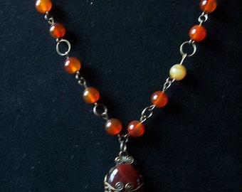 26 Inch Carnelian and Vintaj Brass Necklace with Filigree Set Focal