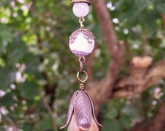 Chrysocolla, Charoite and Rose Quartz pendant on copper chain 20 inches