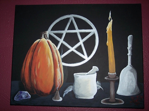 SAMHAIN RITUAL- ACRYLIC PAITNING ON STRETCHED CANVAS WICCA PAGAN
