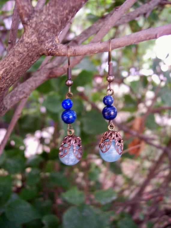 Celestite and Lapis Lazuli Earrings with brass filigree