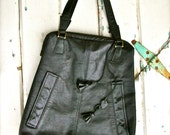 RESERVED LISTING for CHELS Black Leather Bag Purse Tote Fall/ Winter Fashion Handmade using recycled materials upcycled