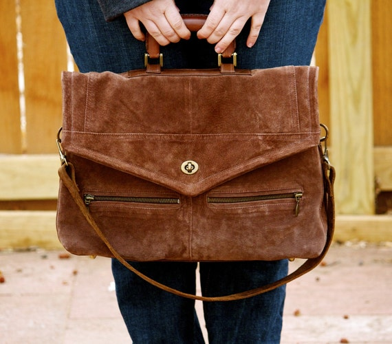 Brown Suede Handbag Laptop Bag Leather Purse The Barracuda Briefcase Hand Stitched using Recycled materials OOAK FREE SHIPPING