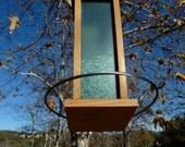 Big Blue Modern handmade bird feeder Cedar Wood outdoor stainless steel