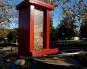 Modern handmade bird feeder Cedar Wood RED Thatch resin outdoor stainless steel