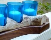 Mahogany and driftwood candle holder