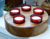Solid hardwood tealight candle holder