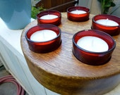 Round Rustic hardwood tealight candle holder