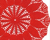 Crochet doily, lace doily, table decoration, crocheted place mat, centre piece,doily tablecloth, red, napkin, handmade doilies