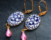 Luscious lily - blue carved cabochon and pink teardrop earrings