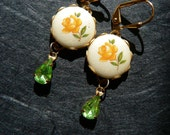 Blooming beauties - pearly yellow rose cabochon with a peridot green rhinestone drop earrings