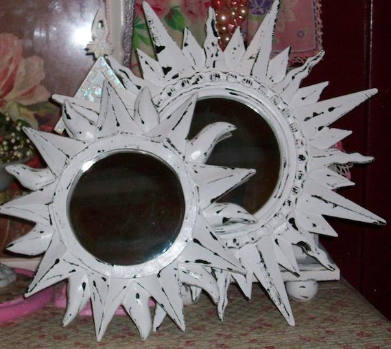 2 Chippy White Sun Shaped Mirrors