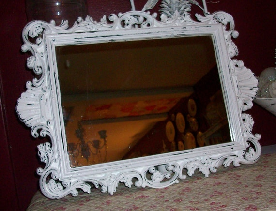 Large Antique Wall Mirror: Large Vintage Ornate Wall Mirror With Chippy White Faux Finish