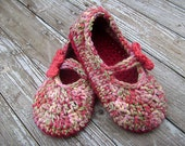 Mary Jane style slippers with flower in rouge, cornmeal, light olive, rose, and hues of rouge - with free application of ...