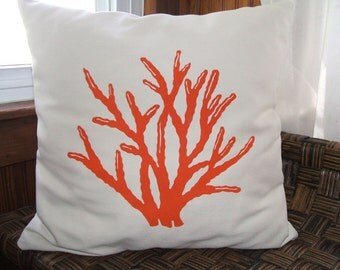 Coral silk screened pillow cover