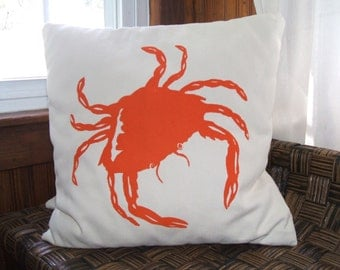 Crab silk screened pillow cover
