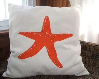 Starfish silk screened pillow cover Nautical Beach Home Decor Screenprint