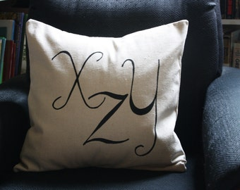 X, Y, Z handmade silkscreen pillow cover