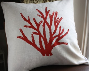 Red Coral Silk Screened Pillow Cover
