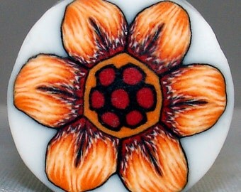 Polymer Clay Orange and Red Flower Cane, Polymer Clay Cane, Millefiori, Nail Art