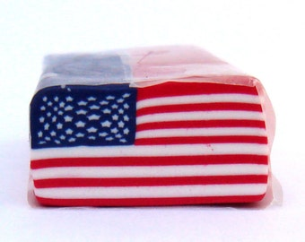 LARGE American Flag Cane, polymer Clay Cane, Millefiori, Patriotic Cane, Nail Art, Red White and Blue