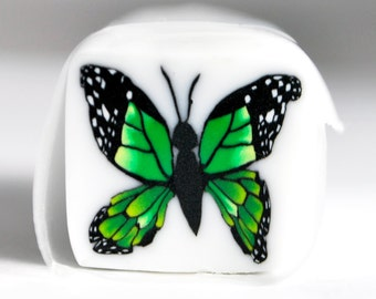 Handmade Green Butterfly Polymer Clay Cane, Butterfly, jewelry, polymer Clay, Cane, Canes