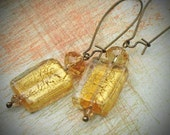 Art Glass Earrings, Swarovski, Gold, Yellow, Champagne, Jewelry by rewelliott on Etsy