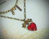 Vintage Rhinestone Necklace, Brass, Heart, You Choose Color, jewelry by rewelliott on Etsy
