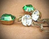 Vintage Rhinestone Earrings, Green, Tourmaline, by rewelliott on Etsy