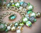 Vintage Rhinestone Charm Bracelet, Tourmaline, Olive, Green, Moss