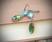 Vintage Rhinestone Earrings, Aquamarine, Emerald, Copper, Jewelry by rewelliott on Etsy