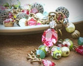 Vintage Rhinestone Charm Bracelet, Green, Rose, Watermelon