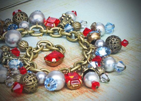 Vintage Rhinestone Bracelet, Swarovski, Red, Blue, Gray, jewelry by rewelliott on Etsy