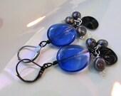 Midnight Black, Silver & Blue Dangle Goth Earrings