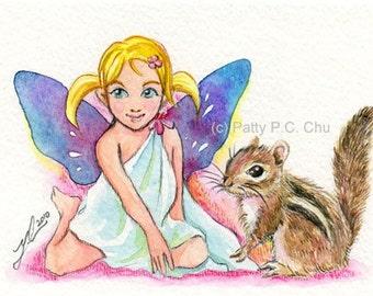 ORIGINAL fairy and chipmunk watercolor painting --Mat--