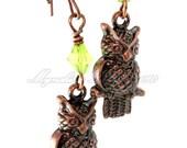 Long Antiqued Copper Owl Charm Earrings