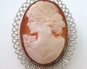 Reserved - Gorgeous Vintage 50s Beau Sterling Silver Romantic Victorian Style Shell Cameo Necklace Pendant Brooch Pin