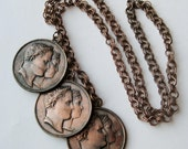 Vintage 30s French Coin Copper Romantic Dangle Empress Necklace