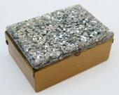 Vintage 50s Glam Silver Sparkly Lucite Confetti Glitter Vanity Table Pill Box