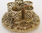 RESERVED - Vintage 50s Gold Filigree Ormolu Stylebuilt Vanity Table Lipstick Display Holder