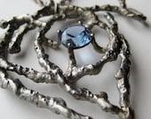 Vintage 50s Studio Jewelry Silver Free Form Mid Century Modernist Organic Pendant Statement Necklace